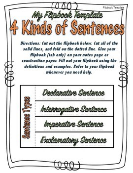 4 Kinds of Sentences Grammar Practice with flip book, posters, assessments.