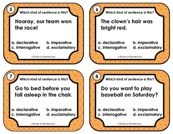 Language Arts Task Cards - 4 Kinds of Sentences