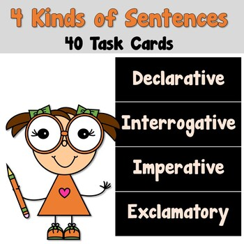 4 Kinds of Sentences Task Cards_Declarative Interrogative Imperative Exclamatory