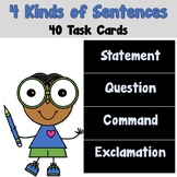 4 Kinds of Sentences Task Cards - Statement Question Command Exclamation