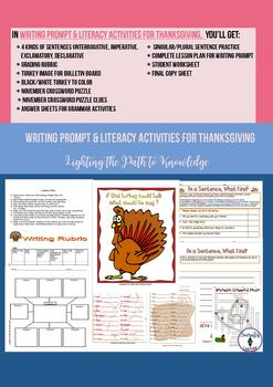 Writing Prompt & Literacy Activities for Thanksgiving ( 4-7)