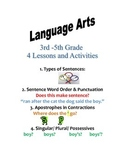 4 Language Arts Lessons with Activities for 3rd-5th Grades