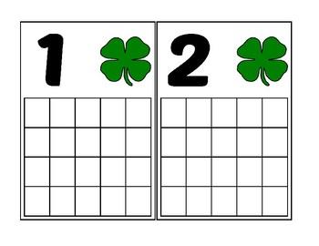 4 Leaf Clover/Shamrock Ten Frame Activity (Numbers 1-20)