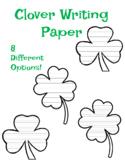 4 Leaf Clover Writing Paper Four Leaf Clover Writing Kindergarten Clover Paper