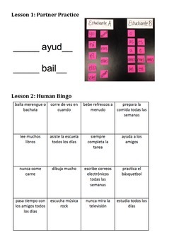 4-Lesson Spanish Regular Present Tense Review- Free Time Verbs