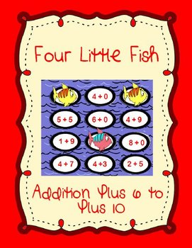 4 Little Fish Printable Math File Folder Game Addition Plus 6 through Plus 10