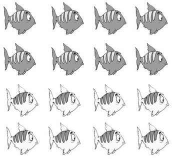 4 Little Fish Printable Math File Folder Game Addition Plus 6 through Plus 10 BW