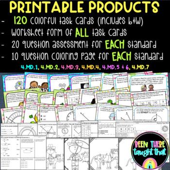 4.MD.1 - 4.MD.7 Task Card and Worksheet BUNDLE!