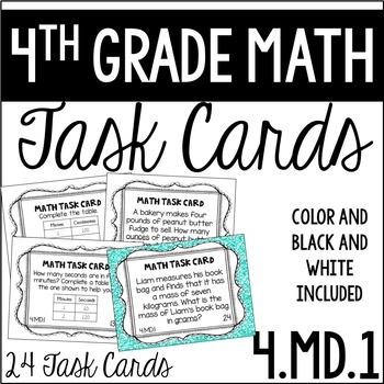 4.MD.1 4th Grade Math Task Cards (Measurement Conversion)