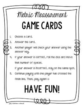 4.MD.1 Game Cards: Metric Measurement