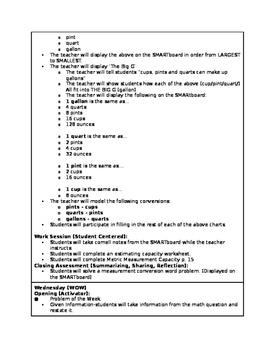 4.MD.1 Capacity Lesson Plans (NC 4th Grade Common Core)