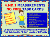 4.MD.1 Math 4TH Grade NO PREP Task Cards—MEASUREMENT PRINTABLES