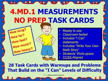 4.MD.1 Math 4TH Grade NO PREP Task Cards—MEASUREMENT PRINTABLES