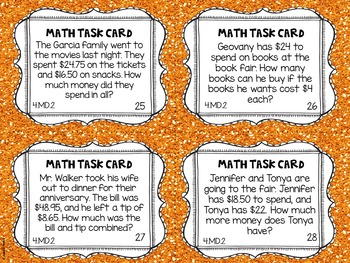 4.MD.2 4th Grade Math Task Cards (Word Problems with Measurements)