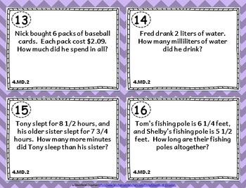 4.MD.2 Task Cards: Measurement Word Problems Task Cards 4.MD.2: Measurement