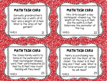 4.MD.3 4th Grade Math Task Cards (Area and Perimeter)