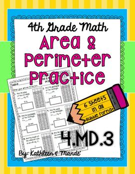 4.MD.3 Area & Perimeter Practice: PARCC Bubble Format