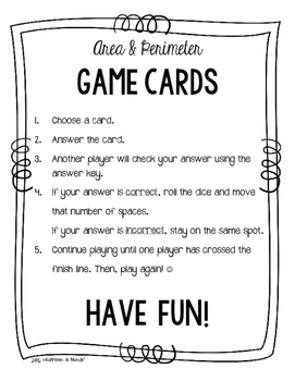 4.MD.3 Game Cards: Area & Perimeter