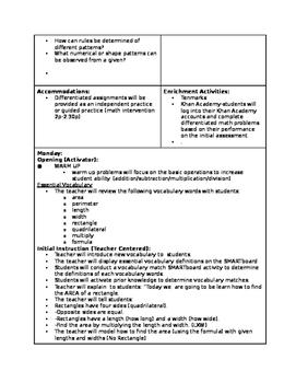4.MD.3 (Mon-Tues) 4.OA.5 (Thur-Fri) LessonPlans (NC Common Core Q2W8)