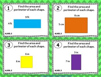 4.MD.3 Task Cards: Area & Perimeter Task Cards 4MD3: Area & Perimeter Rectangles