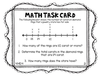 4.MD.4 4th Grade Math Task Cards (Line Plots)