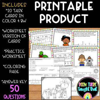 Fraction Line Plots Task Cards, Coloring Page & Worksheet