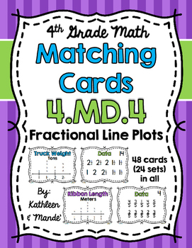 4.MD.4 Matching Cards: Fractional Line Plots