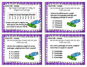 4.MD.4 Task Cards: Fractional Line Plots {Set 1: Fractions Only}
