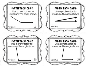 4.MD.5-6 4th Grade Math Task Cards (Concepts of Angles and Angle Measurement)