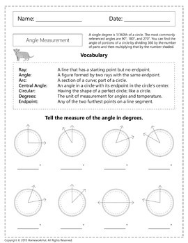 4.MD.5 - Angle Measurement and Degrees Worksheets