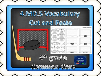"""4.MD.5 Vocabulary """"Cut and Paste"""" Hockey"""
