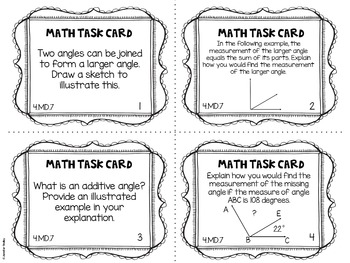 4.MD.7 4th Grade Math Task Cards (Additive Angles)