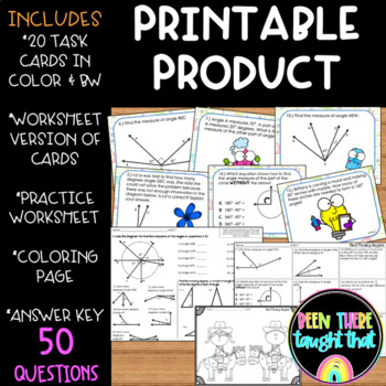 4.MD.7 Find Missing Angles- Task Cards, Coloring Pages and Worksheets!
