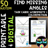 4th Grade Find Missing Angles Task Cards, Activities and DIGITAL LEARNING