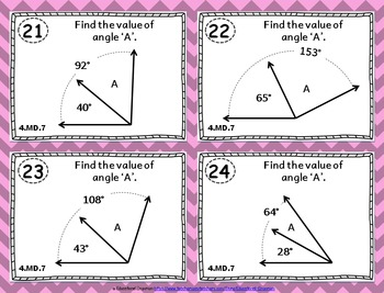 4.MD.7 Task Cards: Adding Angles Task Cards 4.MD.7: Recognize Angles as Additive