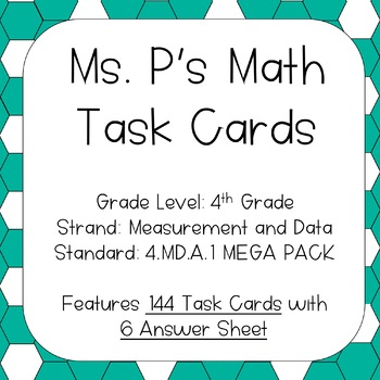 4.MD.A.1 Converting Between Units Task Cards MEGA PACK