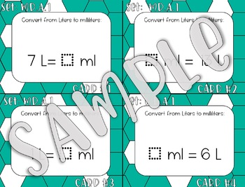 4.MD.A.1 Converting Liters and Milliliters Task Cards