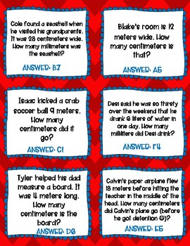 4.MD.A.1 Metric Vocabulary and Conversions- Partner Game and Task Cards