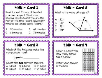 4.MD Test Prep Task Cards {Measurement & Data 4.MD.1-7}