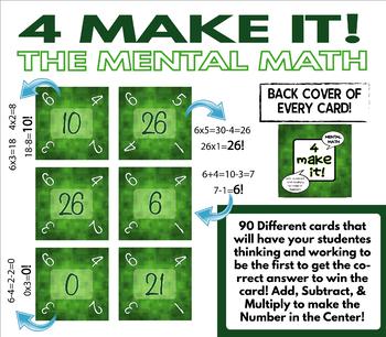 4 Make It Game Mental Math Challenges BUNDLE Google Slides & Printed Version