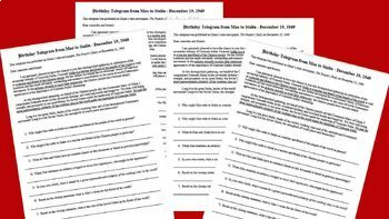 4 Mao Zedong Cold War Primary Sources with Qs (speeches, telegrams, quotations)