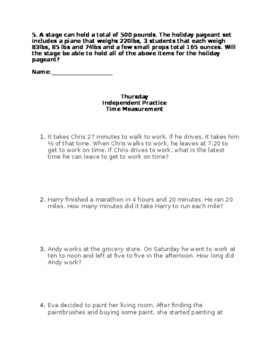 4.Md.1 Time and Mass Lesson Plans (NC Common Core 4th Grade)