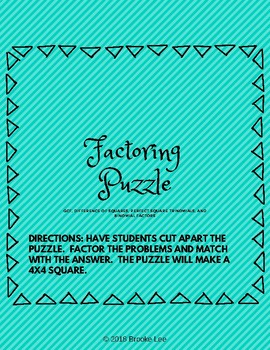 4 Methods of Factoring Puzzle