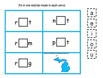 4 Michigan State Symbols themed CVC Games. 4 Printable Preschool Games