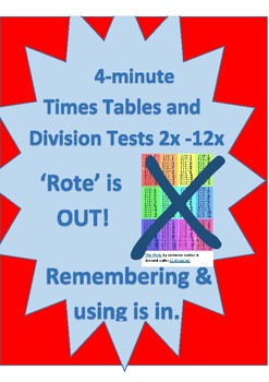 4 Minute tables multiplication and division tests - from 2 TO 12