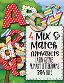 "4 Mix & Match! Clip Art Alphabets, 384 PNGs, 3.5"" 300 DPI  Vector and PNG"