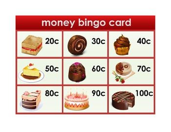 4 Money Bingo Boards each for different abilities