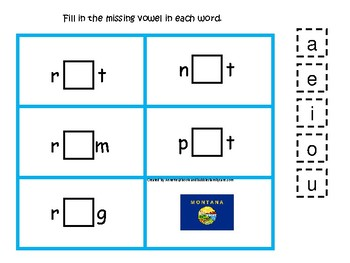 4 Montana State Symbols themed CVC Games. 4 Printable Preschool Games