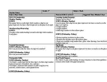 4.NBT.1-3 Lesson Plans