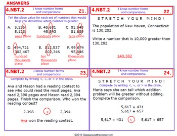 4.NBT.2 Math 4th Grade NO PREP Task Cards—NUMBER FORMS AND COMPARE WITH